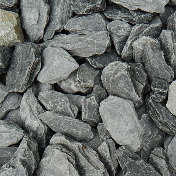 grey slate chippings, 40mm in size, dry