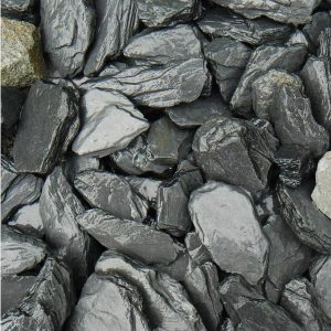 grey slate chippings, 40mm in size, wet