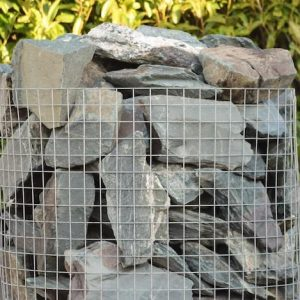 a crate of 70 green slate rocks