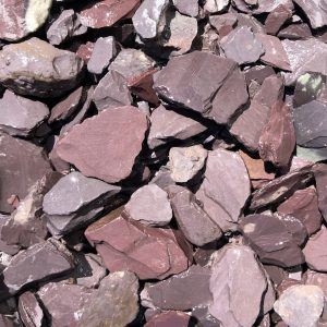 plum slate chippings, 40mm in size, wet