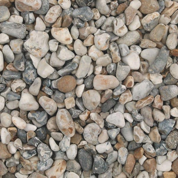 oyster pebbles, grey and beige in colour, dry