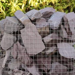 a crate of 70 plum slate rocks