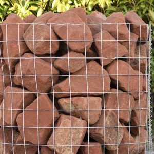 a crate of red sandstone rockery stones