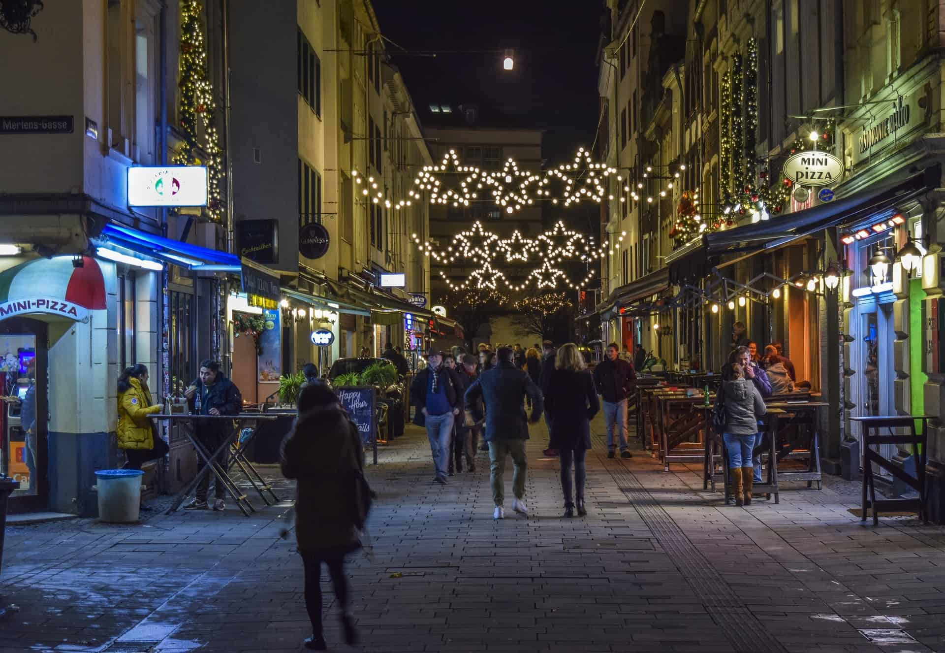 An image of a town centre at Christmas.