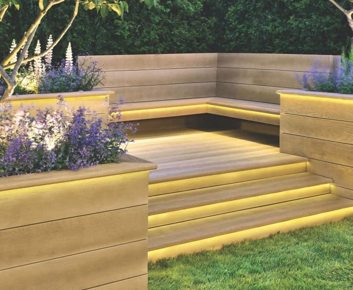 An image of a corner made of composite decking