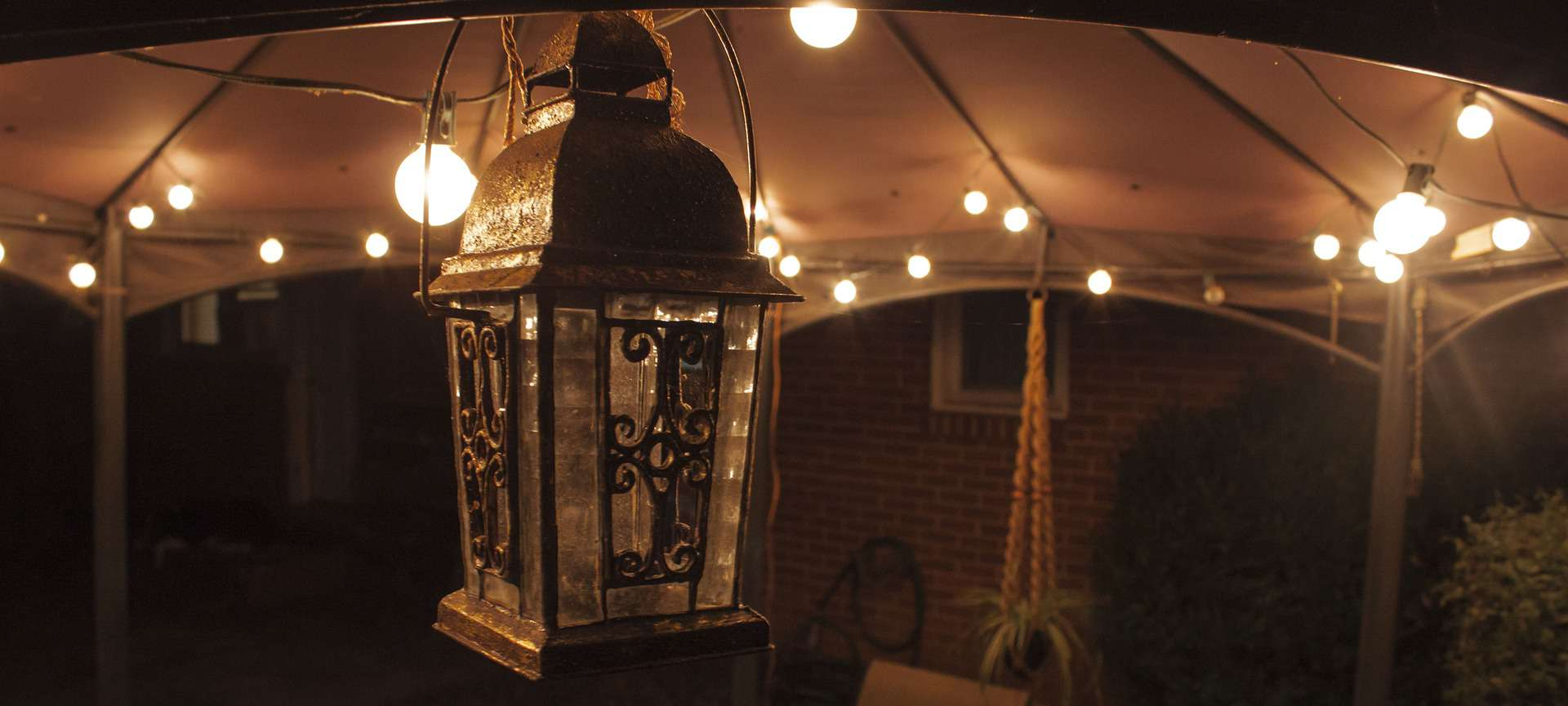 An image of garden shelter and lights