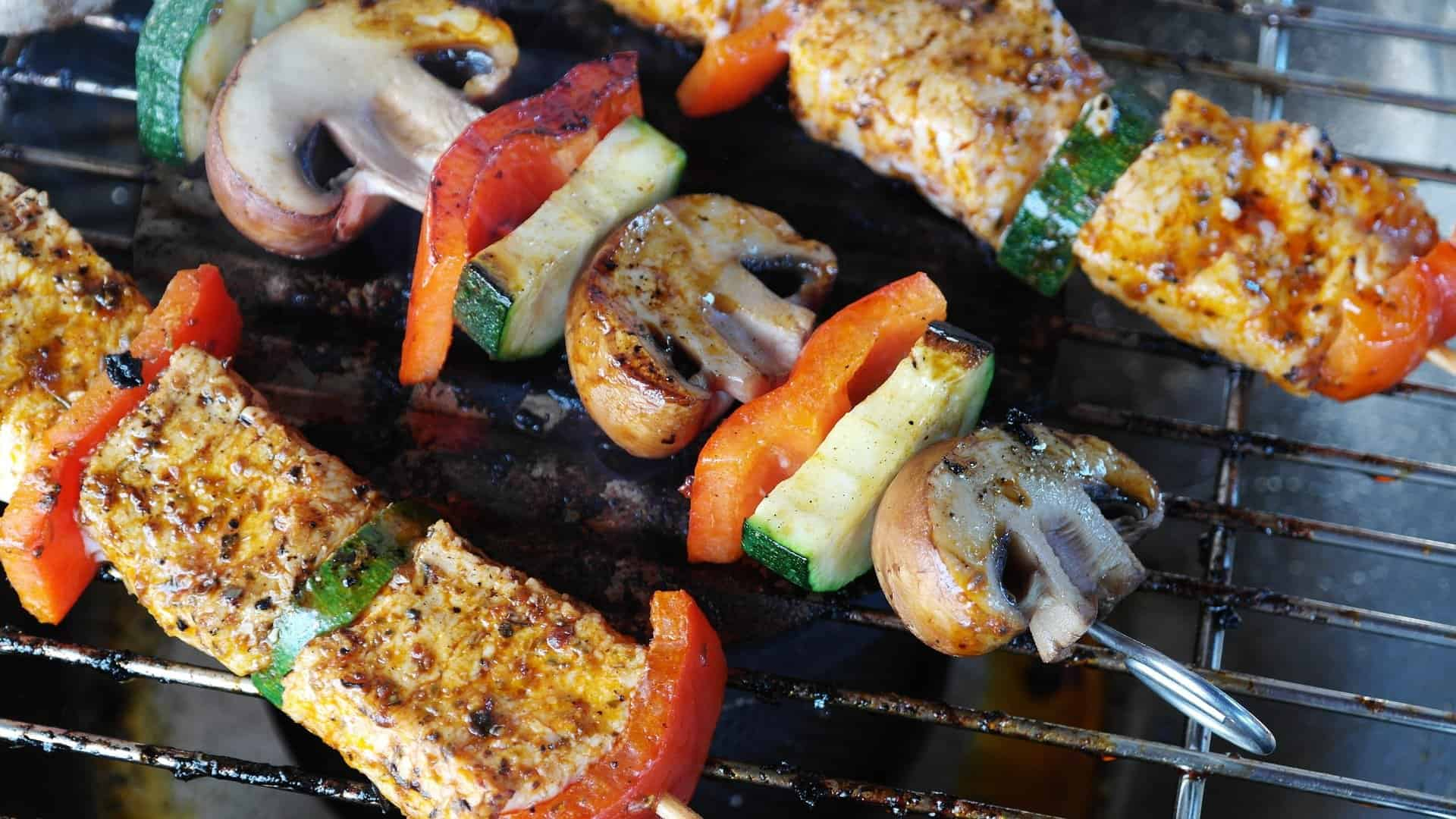 An image of a meat and vegetable skewer.
